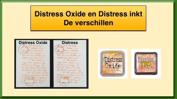 Vergelijking Tim Holtz Distress Oxide Inkt en Distress Inkt
