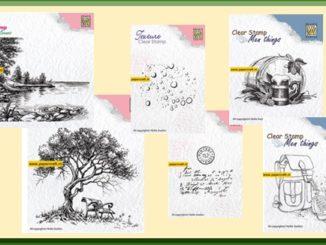 Nellie Snellen Stempels Texture, Men Things en Idyllic Floral Scene